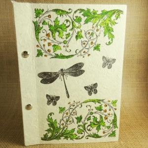 Buchschrauben-Buch mit Blättergirlanden, Schmetterlingen und Libelle Din A5 - Handarbeit kaufen