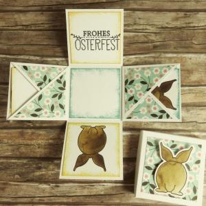 Mini-Explosionsbox zu Ostern mit Hasen, Blumen und Oster-Gruß in Smaragdgrün und Gelb - Handarbeit kaufen