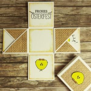 Mini-Explosionsbox zu Ostern mit Küken, Jutemuster und Oster-Gruß in Braun und Gelb - Handarbeit kaufen
