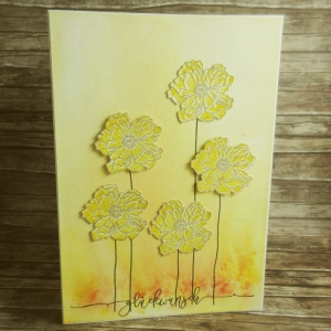 Handgemachte Klappkarte Glückwunsch mit großen einzelnen Mohnblumen Din A5 - Handarbeit kaufen