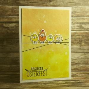 Handgemachte Klappkarte mit Hühnern auf dem Seil zum Frohen Osterfest in Orangetönen Din A6 - Handarbeit kaufen