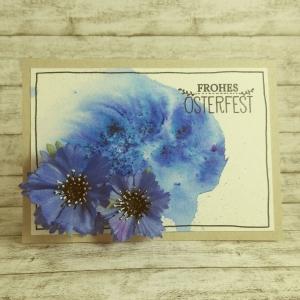 Handgemachte Klappkarte mit Kornblumen und blauem Hintergrund Din A6 - Handarbeit kaufen
