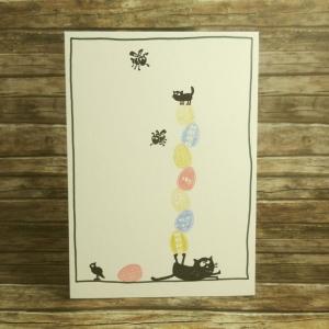 Handgemachte Klappkarte mit Ostereierturm und Tieren in Lila, Orange und Pink Din A6 - Handarbeit kaufen