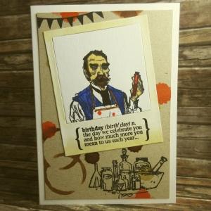 Handgemachte Klappkarte Chemistry Birthday mit Polaroidrahmen und Klecksen in Rot und Blau Din A6
