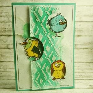 Handgemachte Klappkarte mit bunten Vögel in Aquarell Din A6 - Handarbeit kaufen