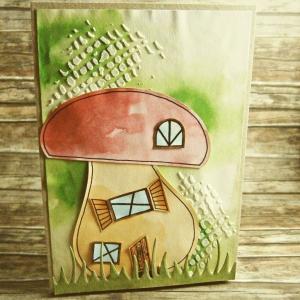 Handgemachte Klappkarte mit Pilzhaus in Rot und Grüntönen Din A6 - Handarbeit kaufen