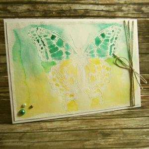 Handgemachte Klappkarte mit großem weißen Schmetterling Din A6 - Handarbeit kaufen