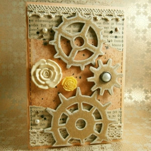 Handgemachte Klappkarte im Steampunk-Stil mit Zahnrädern und Blüten in Altrosa Din A6 - Handarbeit kaufen