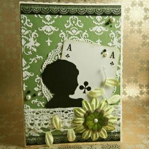 Handgemachte Klappkarte im Steampunk-Stil mit Silhouette und Spielkarte Din A6 - Handarbeit kaufen