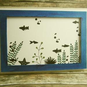 Handgemachte Klappkarte mit Aquarium voller Fische und Pflanzen in Blau und Grün Din A6 - Handarbeit kaufen