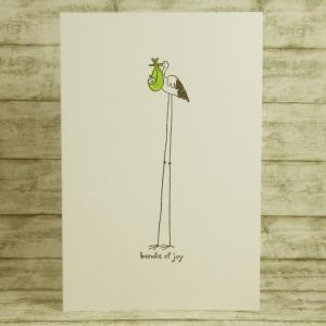 Handgemachte Klappkarte mit langem Storch und Baby in einem Tuch in Weiß, Schwarz, Orange und Grün Din A6 - Handarbeit kaufen