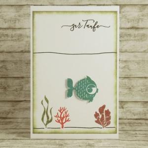 Handgemachte Klappkarte für die Taufe mit Unterwasserwelt, Fisch und Koralle in Rot und Grün Din A6 - Handarbeit kaufen