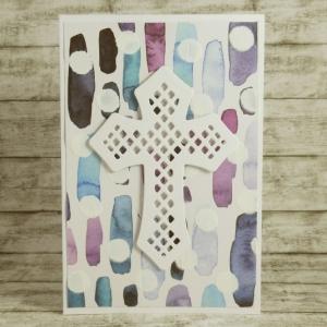Handgemachte Klappkarte mit großem Kreuz und Punkt-Streifen-Hintergrund in Lila-Blau Din A6 - Handarbeit kaufen