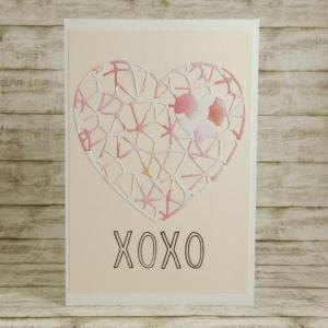 Handgemachte Klappkarte mit Netz-Herz XOXO in Altrosa, Rosa und Pink Din A6 - Handarbeit kaufen