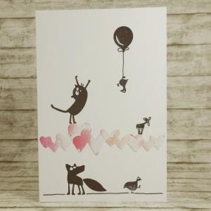 Handgemachte Klappkarte mit Herzband und vielen Tieren in Rosa und Pink Din A6