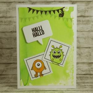 Handgemachte Klappkarte mit Monstern, Sprechblase und Girlanden in Grün und Orange Din A6 - Handarbeit kaufen