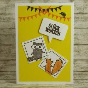 Handgemachte Klappkarte mit Kritzeltieren, Sprechblase und Girlanden in Gelb und Orange Din A6 - Handarbeit kaufen