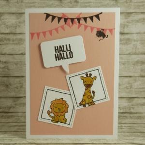 Handgemachte Klappkarte mit Zootieren, Sprechblase und Girlanden in Rosa und Pink Din A6 - Handarbeit kaufen
