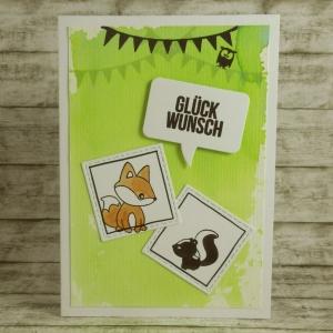 Handgemachte Klappkarte mit Waldtieren, Sprechblase und Girlanden in Grün Din A6 - Handarbeit kaufen