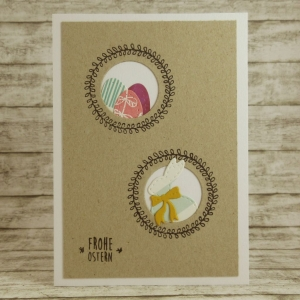 Handgemachte Klappkarte mit Kreisen, Kränzen, Ostereiern und Hase in Weiß-Türkis, Rosa, Lila und Gelb Din A6 - Handarbeit kaufen