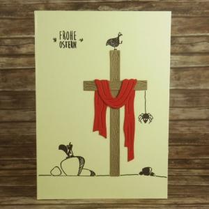 Handgemachte Klappkarte mit Kreuz, Schal und kleinen Tierchen in Braun und Dunkelrot Din A6 - Handarbeit kaufen