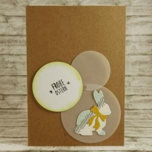Handgemachte Klappkarte mit Kreisen und groem Hasen mit Schleife in Weiß-Türkis und Gelb Din A6 - Handarbeit kaufen