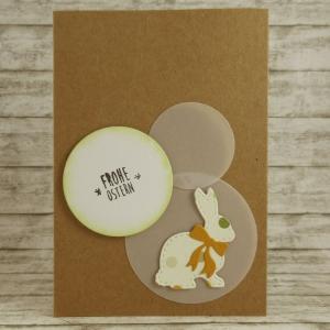 Handgemachte Klappkarte mit Kreisen und großem Hasen mit Schleife in Beige Din A6 - Handarbeit kaufen