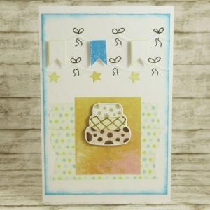 Handgemachte Klappkarte zum Geburtstag mit Kuchen, Wimpeln und Sternen in Blau, Orange und Grün Din A6 - Handarbeit kaufen