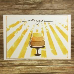 Handgemachte Klappkarte mit Sonnenstrahlen und Kuchen in Gelb und Braun Din A6 - Handarbeit kaufen