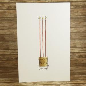 Handgemachte Klappkarte mit Kuchen und Kerzen in Rot und Braun Din A6 - Handarbeit kaufen