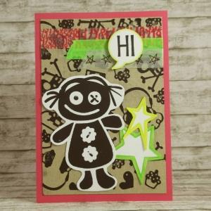 Handgemachte Klappkarte mit Puppe, Punk-Motiven und Sternen in Neonfarben Din A6 - Handarbeit kaufen