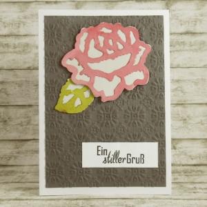 Handgemachte Klappkarte zur Trauer mit großer Blüte in Rosa, Grün und Grau Din A6 - Handarbeit kaufen
