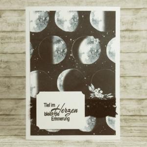 Handgemachte Klappkarte zur Trauer mit Monden und Spitze in Schwarz, Weiß und Grau Din A6 - Handarbeit kaufen