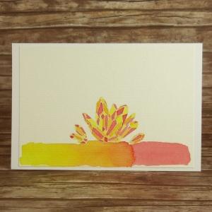 Handgemachte Klappkarte mit Kristallen in Rot, Orange und Gelb Din A6 - Handarbeit kaufen