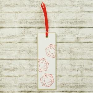 Handgemachtes Lesezeichen aus Papier mit W20 Rollenspiel Würfel in Rot - Handarbeit kaufen