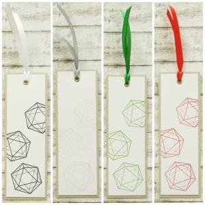 Handgemachtes Lesezeichen aus Papier mit W20 Rollenspiel Würfel in Wunschfarbe - Handarbeit kaufen