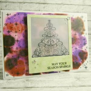 Handgemachte Klappkarte mit Weihnachtsbaum im Polaroid und Sternenwolke Din A6 - Handarbeit kaufen