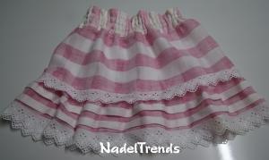 leichter Sommerrock in rosa - weiß für Größe 122 - 140 - Handarbeit kaufen