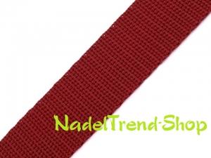 1 m Gurtband 20 mm breit in dunkelrot - Handarbeit kaufen