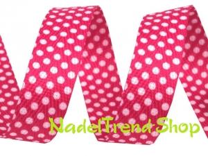 Köperband 18 mm breit in pink mit Punkten - Handarbeit kaufen