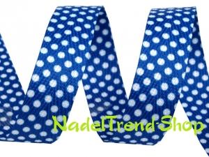 Köperband 18 mm breit in blau mit Punkten - Handarbeit kaufen