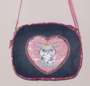 niedliche Mädchentasche mit rosa Hasenapplikation / Jeanstasche / Kindergartentasche / Kindertasche