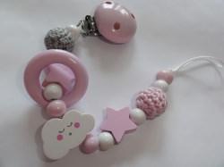 Schnullerkette in weiß – rosa – Wolke
