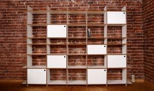 Regal purista fixed aus MDF weiß beschichtet mit Aluminiumschienen - Handarbeit kaufen