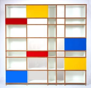Regal purista move aus MDF, weiß beschichtet, mit farbigen Glasschiebeelementen - Handarbeit kaufen