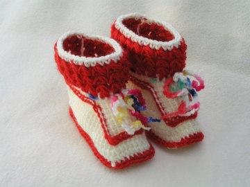 ♥♥ wunderschöne handgehäkelte Babyschuhe in rot/weiß  ♥♥ (Kopie id: 50507)