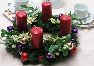 ★ ☆★ ☆ Adventskranz mit vier roten Kerzen ★ ☆★ ☆