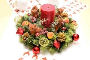 ★ ☆★ ☆ Adventskranz mit roter Kerze und kleinen Rehchen ★ ☆★ ☆