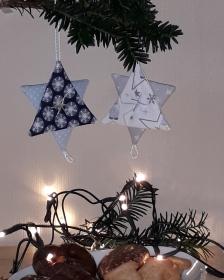 Vielseitige Weihnachtsanhänger Stoffsterne in Blau - Handarbeit kaufen