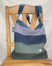 Schultertasche aus gefilztem Pullover in Blau-Grün - Handarbeit kaufen